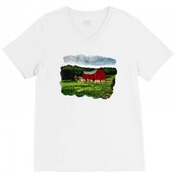 red barn watercolor V-Neck Tee | Artistshot