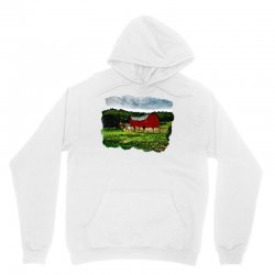 red barn watercolor Unisex Hoodie | Artistshot