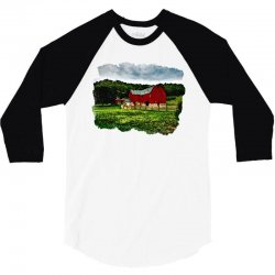 red barn watercolor 3/4 Sleeve Shirt | Artistshot