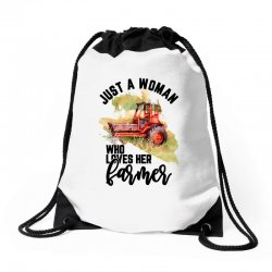 just a woman who loves her farmer for light Drawstring Bags | Artistshot