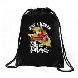 just a woman who loves her farmer for dark Drawstring Bags | Artistshot