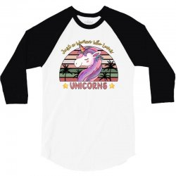 just a woman who loves  unicorns 3/4 Sleeve Shirt | Artistshot