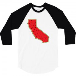 watermelon california map 3/4 Sleeve Shirt | Artistshot