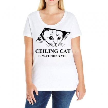 Ceiling Cat Is Watching You Ladies Curvy T-shirt Designed By Slalomalt