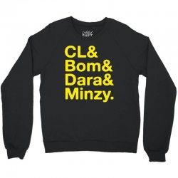 2ne1 cl and bom and dara and minzy   yellow Crewneck Sweatshirt | Artistshot