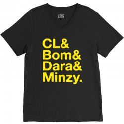 2ne1 cl and bom and dara and minzy   yellow V-Neck Tee | Artistshot