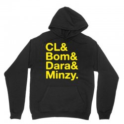 2ne1 cl and bom and dara and minzy   yellow Unisex Hoodie | Artistshot