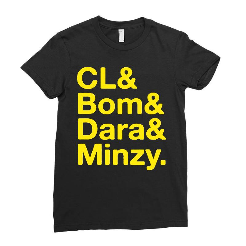 2ne1 Cl And Bom And Dara And Minzy   Yellow Ladies Fitted T-shirt | Artistshot