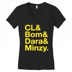 2ne1 cl and bom and dara and minzy   yellow Women's V-Neck T-Shirt | Artistshot