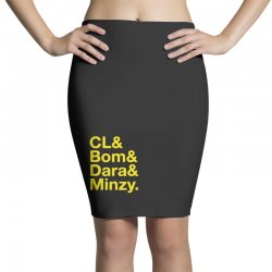 2ne1 cl and bom and dara and minzy   yellow Pencil Skirts | Artistshot