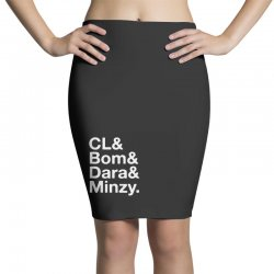 2ne1 cl and bom and dara and minzy   white Pencil Skirts | Artistshot