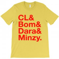 2ne1 cl and bom and dara and minzy   red T-Shirt | Artistshot