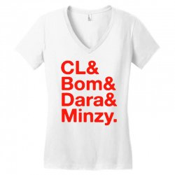 2ne1 cl and bom and dara and minzy   red Women's V-Neck T-Shirt | Artistshot