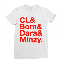 2ne1 cl and bom and dara and minzy   red Ladies Fitted T-Shirt | Artistshot