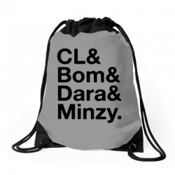 2ne1 cl and bom and dara and minzy   black Drawstring Bags | Artistshot