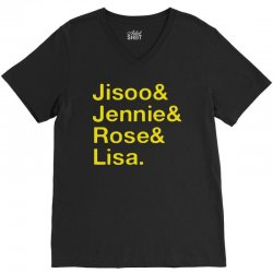 jisoo and jennie and rose and lisa   yellow V-Neck Tee   Artistshot