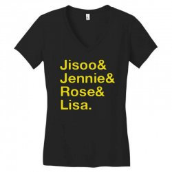 jisoo and jennie and rose and lisa   yellow Women's V-Neck T-Shirt | Artistshot