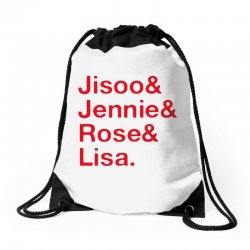 jisoo and jennie and rose and lisa   red Drawstring Bags | Artistshot