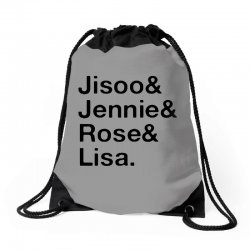 jisoo and jennie and rose and lisa   black Drawstring Bags | Artistshot