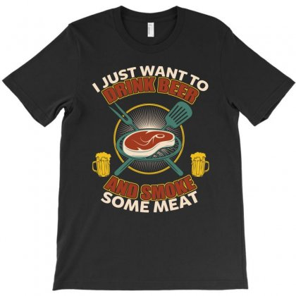 Drink Beer And Smoke Meat Shirt Gift For Barbecue Masters T-shirt Designed By Hung