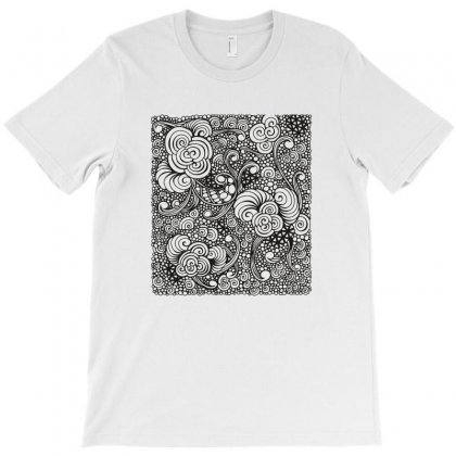 Zentangle Inspired Pattern In Black T-shirt Designed By Zentura