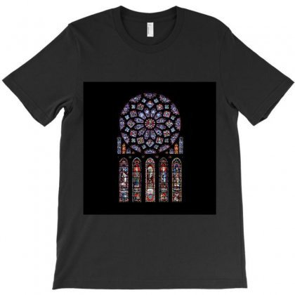 Chartres Cathedral Notre Dame De Paris Amiens Cath Stained Glass T-shirt Designed By Salmanaz