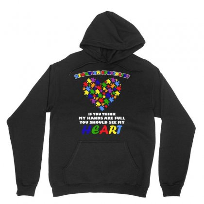 Autism Behavior Specialist Look At My Heart Autism Awareness Unisex Hoodie Designed By Hung