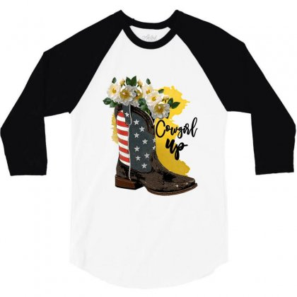 Cowgirl Up 3/4 Sleeve Shirt Designed By Zeynepu