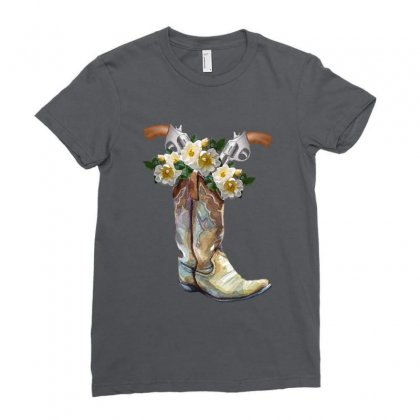 Cowboy Boots Ladies Fitted T-shirt Designed By Zeynepu