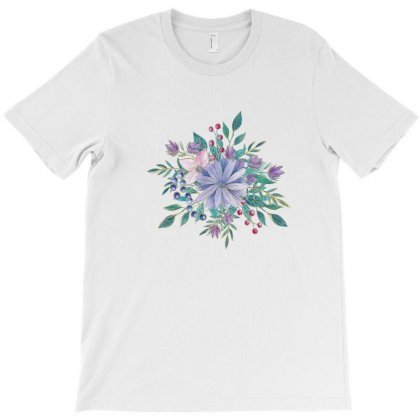 Blue Green Floral Design With Gold Outlines T-shirt Designed By Olaszeva