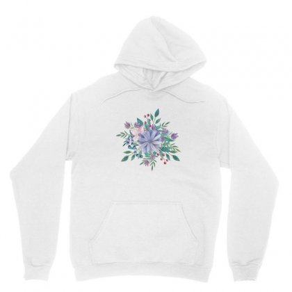Blue Green Floral Design With Gold Outlines Unisex Hoodie Designed By Olaszeva