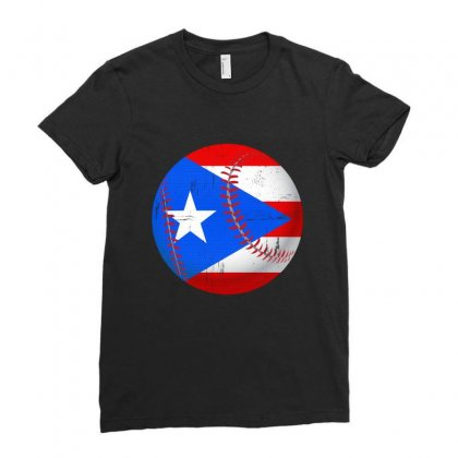 Puerto Rico Baseball Flag T Shirt Ladies Fitted T-shirt Designed By Hung