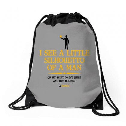 I See A Little Silhouetto Of A Man Drawstring Bags Designed By Devanojohnsantos