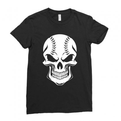 Baseball Skull Funny Tshirt Ladies Fitted T-shirt Designed By Hung
