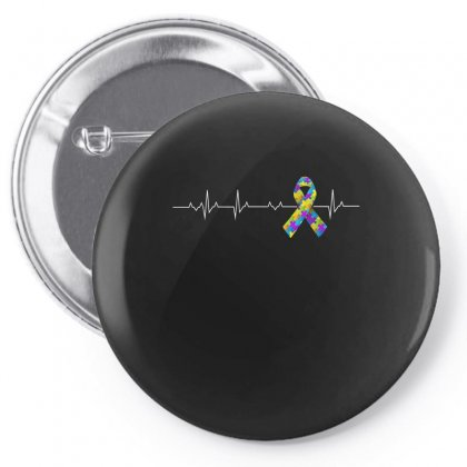Love Autism Awareness Heartbeat Tshirt Pin-back Button Designed By Hung