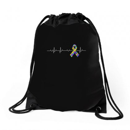 Love Autism Awareness Heartbeat Tshirt Drawstring Bags Designed By Hung
