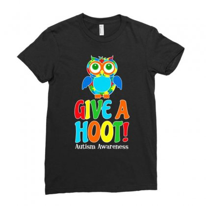Autism Owl Give A Hoot Awareness T Shirt Ladies Fitted T-shirt Designed By Hung