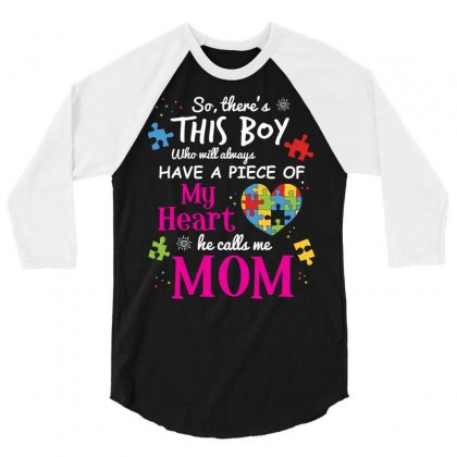 Autism Mom Have Piece Of My Heart Awareness T Shirt 3/4 Sleeve Shirt Designed By Hung