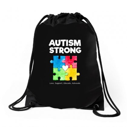 Autism Awareness Strong T Shirt Drawstring Bags Designed By Hung