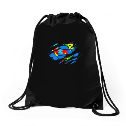 Autism Awareness Day Gifts Super Autism T Shirt Color Drawstring Bags Designed By Hung
