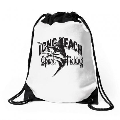 Long Beach Sport Fishing Drawstring Bags Designed By Tiococacola