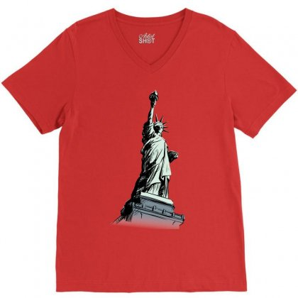 Statue Of Liberty V-neck Tee Designed By Tapan