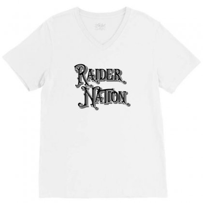 Raider Nation License Plate V-neck Tee Designed By Tiococacola