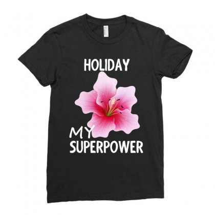 Rose Flower My Superpower Design Shirt Ladies Fitted T-shirt Designed By Cogentprint