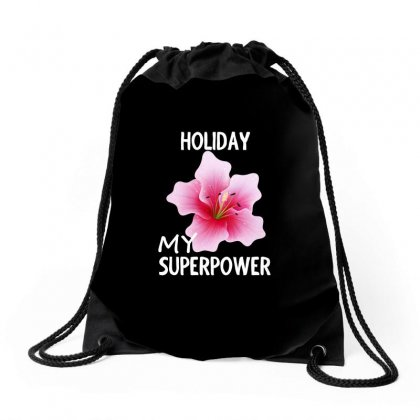 Rose Flower My Superpower Design Shirt Drawstring Bags Designed By Cogentprint