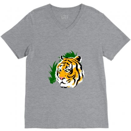 Tiger V-neck Tee Designed By Tapan