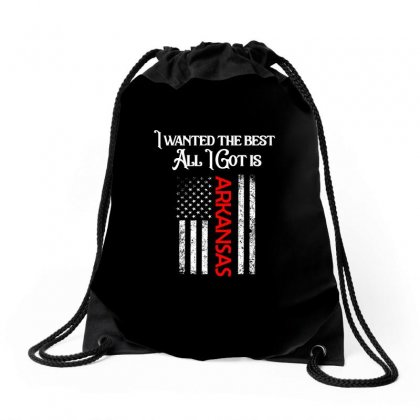 Arkansas City Usa Flag Shirt Drawstring Bags Designed By Cogentprint