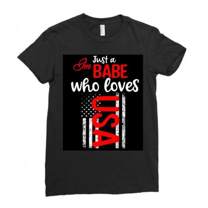 Babe Who Love America Ladies Fitted T-shirt Designed By Cogentprint