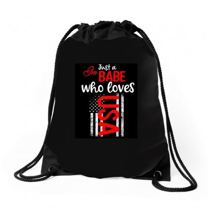 Babe Who Love America Drawstring Bags Designed By Cogentprint