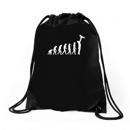 Evolution  Vater Eltern Papa Kind Baby Child Daddy Dad Parent Drawstring Bags Designed By H4syim